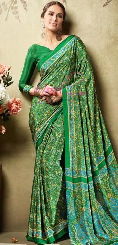 Italian Crepe Saree Green Floral Printed Easy Care Wash BZ5051D77076