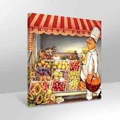 Apolena Şef Aşçı Alışverişte Kanvas Tablo
