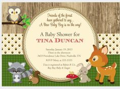 6 Best Images Of Free Printable Woodland Forest Animal Baby Shower Cards Animals Clip Art And