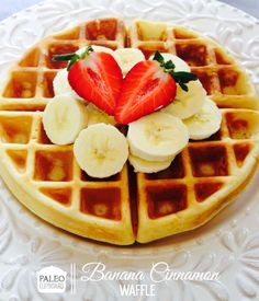 The best paleo waffles, made with coconut flour and served with a honey cinnamon syrup Healthy Recipes, Whole Food Recipes, Cooking Recipes, Dessert Sans Gluten, Paleo Dessert, Banana Cinnamon, Cinnamon Waffles, Cinnamon Syrup, Banana Waffles