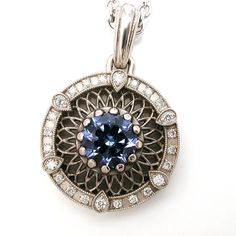 Tanzanite and Diamond Antique Styled Filigree Pendant - 14k Palladium White Gold Halo Necklace
