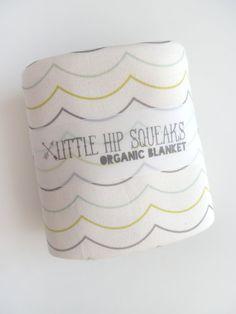Mine! Modern Baby Blanket Scallops in Seafoam Gray
