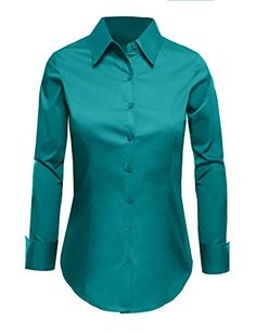 LE3NO Womens Tailored Long Sleeve Button Down Shirt with Stretch >>> More info could be found at the image url.
