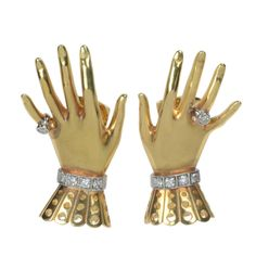 Paul Flato Gold & Diamond Hand and Glove Earclips