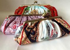 Upcycled silk scarf clutch bags