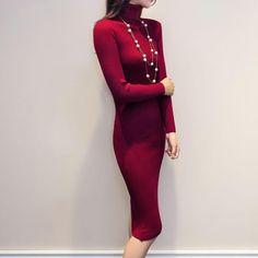 89315576f30 Women Autumn Winter Sweater Knitted Dresses Slim Elastic Turtleneck Long  Sleeve Sexy Dress