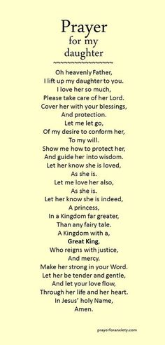 """Prayer for daughter"" .found this under prayers for daughter.only appropriate that I should pin for my daughter too! Prayer Scriptures, Bible Prayers, Faith Prayer, My Prayer, A Mothers Prayer, Prayer For Wisdom, Prayer For Baby, Prayer Circle, Prayer For Family"