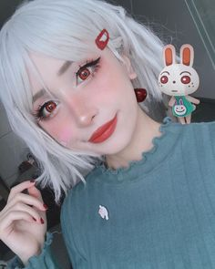 What's your easter makeup? So cute makeup with red conatct lenses Applicable to both light & dark eyes! Come and create more impressing characters with these amazing red contacts! Lolita Makeup, Anime Eye Makeup, Edgy Makeup, Grunge Makeup, Hair Makeup, Makeup Eyes, Pastel Goth Makeup, Aesthetic Hair, Aesthetic Makeup