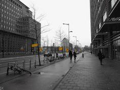 Urban yellow @Amsterdam #urban_yellow #yellow_signs #urbanism #city_centre #yellow #greyscale #Amsterdam #Wibautsreaat3 #blackandwhitephoto #urban_photography #signs #bikes #spar