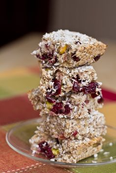 Tropical Lemon Cranberry Coconut Chia Bars — Oh She Glows