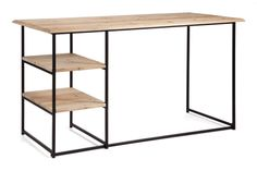 The Russian Hill Desk has a solid metal frame. The top is made form elm wood and it has 2 shelves for storage. The top is left in a natural oak colour for a provincial feel.
