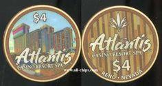 #LasVegasCasinoChip of the Day is a Rare $4 Atlantis Reno Poker Room Drop Chip #CasinoChip #LasVegas #Atlantis https://www.all-chips.com/ChipDetail.php?ChipID=19925