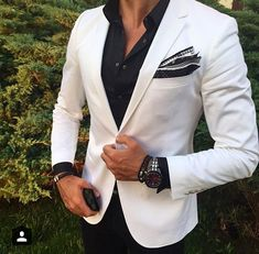 Black & White with a little bit of grey in the pocket square.