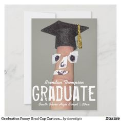 Shop Graduation Funny Grad Cap Cartoon 2020 Graduate Announcement created by ilovedigis. Personalize it with photos & text or purchase as is! Funny Graduation Caps, Graduation Invitations College, Grad Cap, Graduation Cards, Graduation Ideas, Graduation Announcement Cards, Graduation Announcements, Finger Cartoon, Funny Fingers