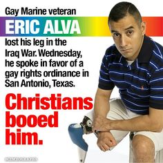 Alva was the first American injured in the U.S. invasion of Iraq. He received a medical discharge and was awarded the Purple Heart. And yet, to many, he is less of a human being. More religious hypocrisy...