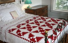 Judi Boisson Pineapple Log Cabin Quilt in Red/White