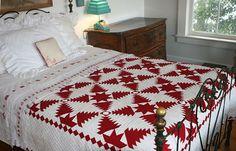 Judi Boisson Pineapple Log Cabin Quilt in Red/White