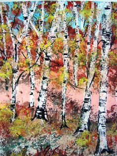 Original Birch Trees Watercolor Painting by pinetreeart on Etsy, $55.00
