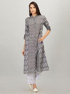 Grey Cotton Ikat Kurta with White Pants - Set of 2 Collar Kurti Design, Kurti Sleeves Design, Dress Indian Style, Indian Dresses, Kurta Designs Women, Blouse Designs, Pretty Dresses, Loose Dresses, Cotton Dresses