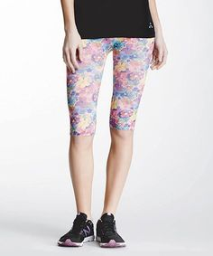 Love this Pink & Blue Under-the-Knee Floral Capri Leggings by Balanced Tech on #zulily! #zulilyfinds