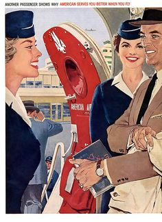 American serves you better when you fly! Vintage American Airlines ad from the 50's my favorite