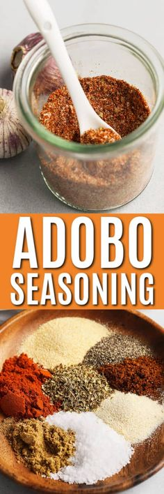 Adobo Seasoning is an all-purpose seasoning that's packed with flavor. Great for chicken roasted veggies or even eggs! Homemade Dry Mixes, Homemade Spices, Homemade Seasonings, Adobo Seasoning, Seasoning Mixes, Chipotle Seasoning Recipe, Rub Recipes, Cooking Recipes, Freezer Recipes