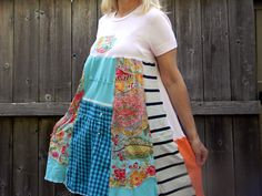 Upcycled Tshirt Dress Upcycled Clothing Reconstructed Women