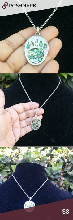 Abalone Bear Claw Pendant Native Design. Coin Shaped Pendant Featuring Mother Of Pearl Bear Claw. Jewelry Necklaces