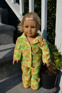 Pretty Flower Flannel Pajamas fits the American Girl by love2sew, $18.00