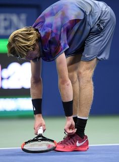 Russia's Andrey Rublev loses point to Spain's Rafael Nadal during their 2017 US Open Men's Singles Quarterfinal match at the USTA Billie Jean King National Tennis Center in New York on September 6, 2017..Nadal advanced to the semifinals, winning 6-1, 6-2, 6-2. / AFP PHOTO / Jewel SAMAD Tennis Center, Billie Jean King, Rafael Nadal, Tennis Players, Jewel, September, York, People, Bling