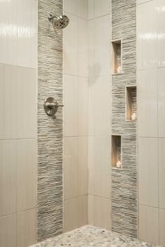 Up close view of shower cutouts to hold supplies. | Beautiful ...