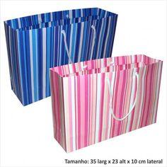 Sacola de papel para presentes listrada rosa ou azul