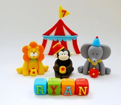 Fondant circus animals cake toppers