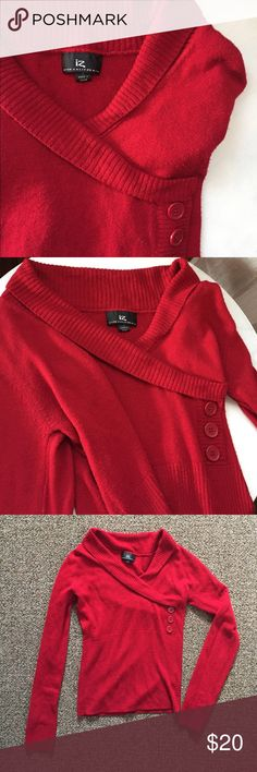 Iz Byer soft red sweater Cozy red sweater, size small, has 3 faux buttons and v neck to create a wrap style effect Iz Byer Sweaters V-Necks