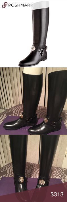 Ralph Lauren Stella Riding Boots THESE BRAND NEW IN BOX RALPH LAUREN STELLA RIDING BOOTS ARE ONE OF A KIND... & COME WITH A SHOE DUSTER...THE BOX IS A BIT CRUSHED ON BOTH SIDES...BUT IN GOOD CONDITION JUST ADDED SOME TAPE ON SIDES...THE LEATHER QUALITY IS AMAZING & BEAUTIFUL EMBLEM ON FROM OF MIDDEL OF BOOT.... IF YOU RIDE HORSES OR JUST LIKE THE BOOT LOOK YOU WILL FALL MADLY IN LOVE THESE BOOTS!!! GREAT ADDITION TO THE WARDROBE!! 👢💗🌸 Ralph Lauren Purple Label Shoes Over the Knee Boots