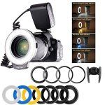 flash annulaire pour Canon, Nikon, Panasonic, Olympus, Appareils photo reflex Pentax, Yeeteem Macro LED Ring Flash Light Comprend 8 pcs…
