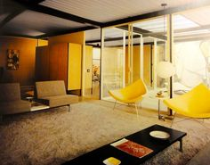 George Nelson Coconut Chairs in an amazing mid century modern house, maybe an Eichler.
