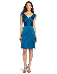 Amazon.com: Adrianna Papell Women's Sleeveless Chiffon Flutter Dress: Clothing