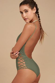 5cb24fdbe3454 Catch the cabana boys doing a double-take when you walk by in the Billabong  Meshin  With You Olive Green One Piece Swimsuit! Braided rope details  laces-up ...
