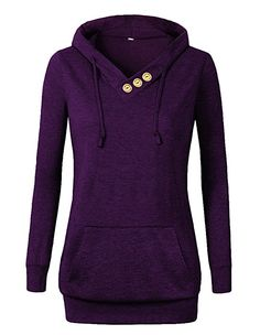 VOIANLIMO Women's Sweatshirts Long Sleeve Button V-Neck Pockets Pullover Hoodies Black S