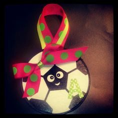 Soccer ornaments for my team. Painted wooden soccer balls from Hobby Lobby ribbon and initial stickers. Turned out so cute! Christmas Gifts To Make, Holiday Crafts, Christmas Crafts, Christmas Ornaments, Christmas Ideas, Ornament Crafts, Felt Ornaments, Soccer Crafts, Wood Crafts