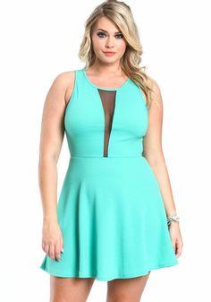 Plus Size Mesh Skater Dress, MINT, large