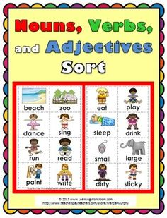 Nouns, Verbs, and Adjectives Sorting Activity