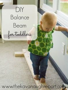 DIY Wooden Balance Beam - easy, simple indoor gross motor play for toddlers and preschoolers