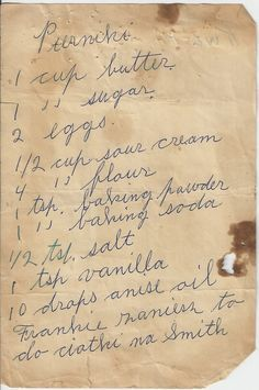 Recipes from St. Stan's Polish Kitchen, Historic Polonia, Buffalo, NY: some are copies of handwritten recipes - can't get any more authentic than that! Retro Recipes, Old Recipes, Vintage Recipes, Cooking Recipes, Ethnic Recipes, Supper Recipes, Pastry Recipes, Cookbook Recipes, Family Recipes