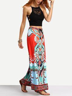 Tribal Print Tassel Tied Waist Maxi Skirt -SheIn(Sheinside)