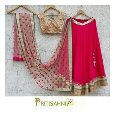 Look radiant in this bright lehenga set on your Sangeet and Mehendi night For more information write to info@pritisahni.com  05 April 2017