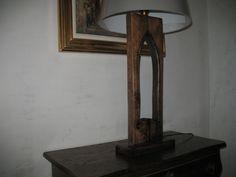 Side lamp,oak frame,embossed copper ornaments.