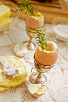 Boiled Egg in Silver Cup
