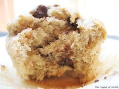 Peanut butter banana chocolate chip muffins. Dense, but yummy! Add 2 cups of chocolate chips total instead of 1!